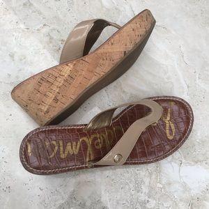 Sam Edelman Romy Wedge Heels Flip tan leather 7.5